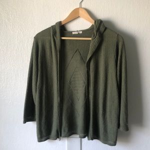 Maurices Hooded Olive Green Knit Cardigan